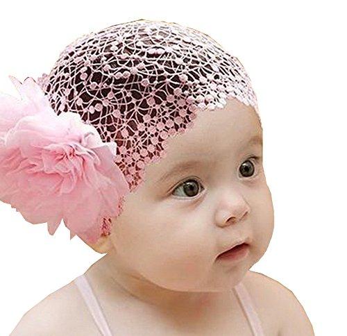 Superbe bébé fille Serre-tête mignon Fleur Dentelle Apparel accessoire de rose (1 ~ 4Y)