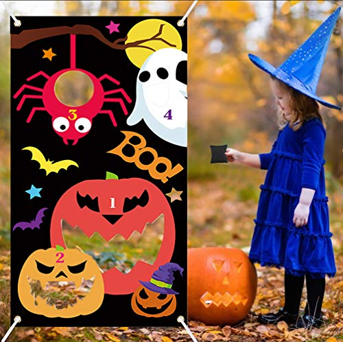 Joyibay Halloween Sitzsack Werfen Spiele, Hängendes Wurfspiele Set für Kinder mit 3 Werfen Taschen Halloween Party Games Zubehör für Kinder Indoor Outdoor Spiele Requisit Dekoration