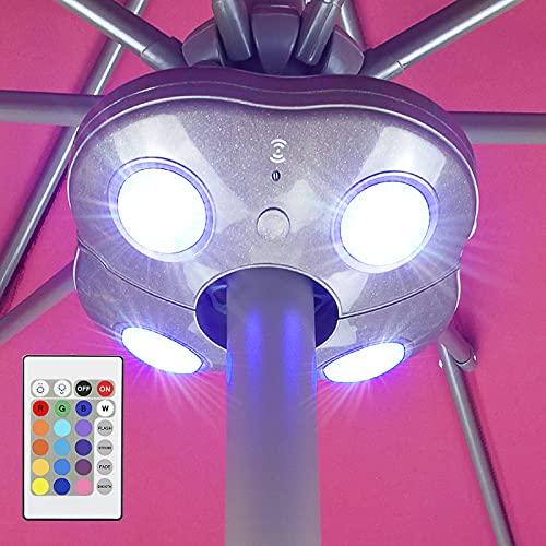 HONWELL Luz para Sombrilla,Lamparas a Pilas para Sombrilla para Balcón Exterior,Luz Parasol LED 16 Colores,Regulable Luces Sombrilla,Luz Inalámbrica Sombrillas para Camping,Jardín,Playa,Tienda-Marrón