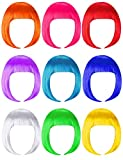 9 Pieces Short Bob Hair Wigs Candy Colored Costume Cosplay Wigs Daily Party Hairpiece for Women Girls - Bachelorette Party Decorations, Favors, Supplies