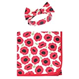 Touched by Nature Unisex Baby Organic Cotton Swaddle Blanket and Headband or Cap, Poppy, One Size