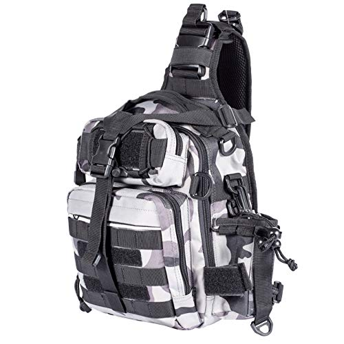 Himal Fishing Tackle Storage Bag,Outdoor Shoulder Backpack,Fishing Gear Bag,Waterproof Shoulder Backpack Cross Body Sling Bag with Rod Holder,Digital Camouflage