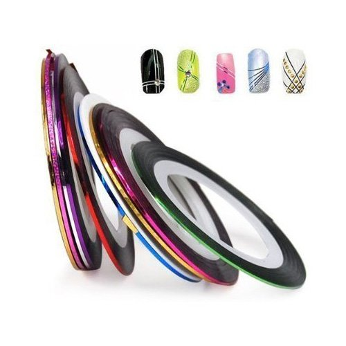 BONAMART World Pride Nail Tape Stripe Decoration Sticker Hologram, Set of 10