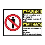 """Segnale di avvertimento in metallo in alluminio con scritta """"Caution Robot Operating Area Do Not Enter Authorized Personal"""" per Proprietà, Home Decor Segnale di avviso"""
