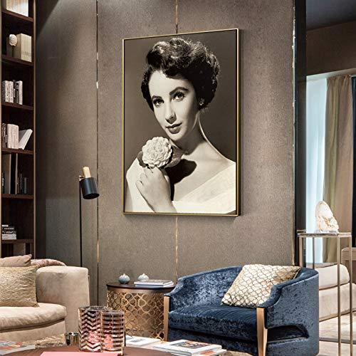 GJQFJBS Schöne Frau Mit Kopftuch Wohnzimmer Wandbild Restaurant Bild Stil Leinwanddruck A2 70X100cm