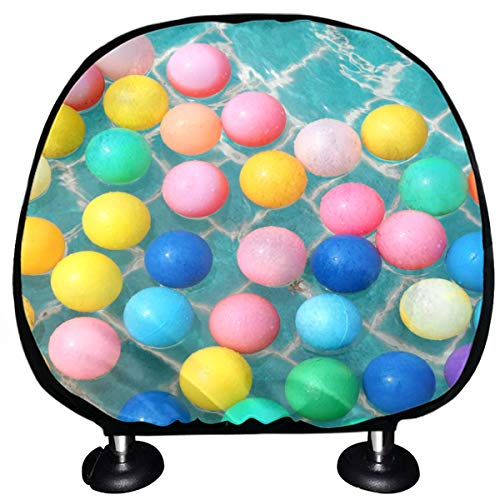 ALALAL Headrest Protector For Car Seat Colorful Balls Floating On The Blue Pool Car Seat Headrest Covers Set Of 2 Universal Fit For Cars Vans Trucks Headrest Cushion Fashion Auto Interior Accessories