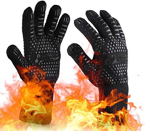 OrgaWise Guantes Barbacoa BBQ Gloves Extremadamente Resistentes hasta 1472 ℉ / 800 ℃, Guantes de Barbacoa para Parrilla, Hornear, Cocina (Negro) (Negro)
