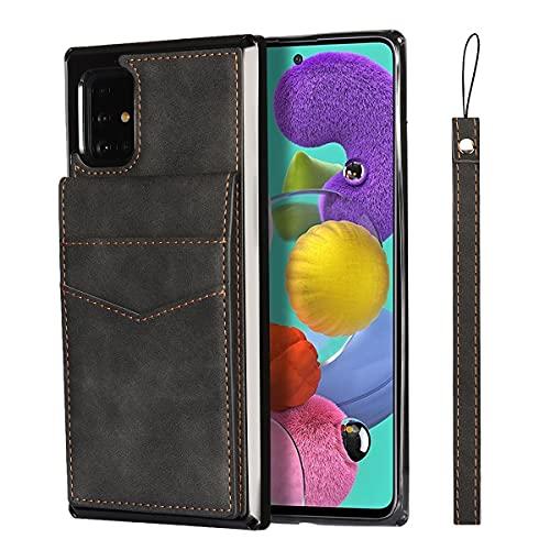 Oihxse Custodia in Pelle Compatibile con Samsung Galaxy A51 5G, Flip Case in PU Leather Portafoglio Kickstand Standing Slot per Schede TPU Protettiva Cover Elegante Alta Capacità - Nero