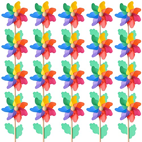 Jucoan 20 Pack Rainbow Pinwheels, 9.8 Inch Plastic Colorful Windmills with Wood Sticks, Pre-Assembled Party Favor Wind Spinners for Garden, Yard Decoration.