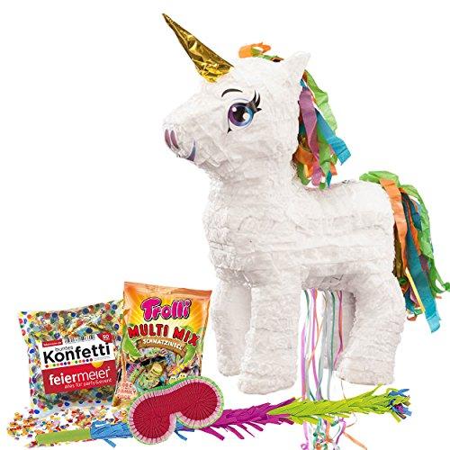PartyMarty Pinata-Set: Pinata Süßes Einhorn mit Goldenem Horn + Schläger + Maske + Trolli Süßigkeiten-Füllung + Konfetti - für Einhorn und Fabelwesen Fans Kindergeburtstag Regenbogeneinhorn