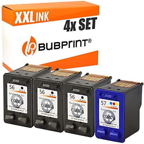 4 Bubprint Druckerpatronen kompatibel für HP 56 57 für DeskJet 5150 5550 5600 5650 5652 OfficeJet 5510 PhotoSmart 7760 PSC 1110 1200 1210 1215 1310 1315 1315S 1350 2410