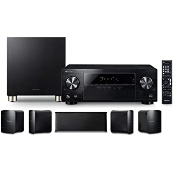 Pioneer HTP-074 Home Theater Package with 5.1-channel AV Receiver, 5 Speakers & 1 Subwoofer, Bluetooth,3D Ready, 4K Pass-through, HDCP 2.2, HDR, 4 HDMI IN, USB In, Dolby TrueHD & DTS-HD Master Audio