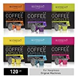 Bestpresso Coffee for Nespresso Original Machine 120 pods Certified Genuine Espresso Variety Pack includes one pack of decaf coffee, Pods Compatible with Nespresso Original