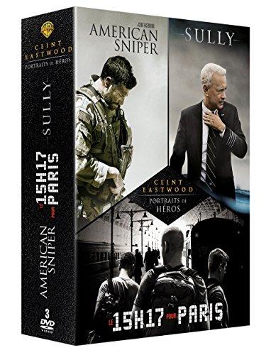 Coffret clint eastwood portraits de héros 3 films : le 15h17 pour paris ; sully ; american sniper