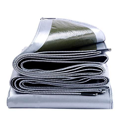 ZEMIN Bâche Protection Couverture Imperméable Multifonction Isolation L'élevage Camions Corrosion Boutonnières, 200G/M², Plusieurs Tailles (Color : Silver+Green, Size : 1.8X1.8m)