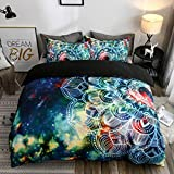 Abojoy Boho Chic Bedding Rustic Floral Mandala Galaxy Duvet Cover Set Queen Size, Bohemian Native Outer Space Decorative Blue 3 Piece Bedding Set with 2 Pillow Shams(Queen, Style1)