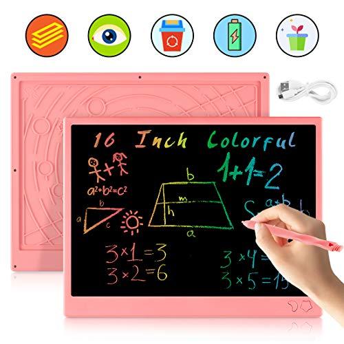 bhdlovely LCD Schreibtafel 16 Zoll Buntes Chargable Maltafel Zaubertafel Löschbar und Wiederverwendbar Schreibtafel Spielzeug ab 3 Jahre, Geschenk für Kinder(Pink)