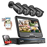 """True All-in-One Home Security Camera System with Built-in 10.1"""" LCD Monitor,SANNCE 4CH 1080P Surveillance DVR Recorder with 4Pcs Metal 120ft Night Vision Cameras, Easy Remote Access,1TB HDD Included"""