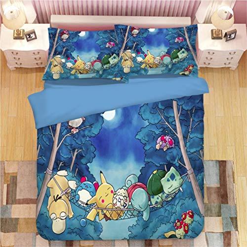 Juego de ropa de cama Pokemon Pikachu, funda de edredón y funda de almohada, microfibra, impresión digital 3D, juego de cama de tres piezas Funda Nórdica Pikachu Anime (B6,155 x 220 cm-Cama 90cm)