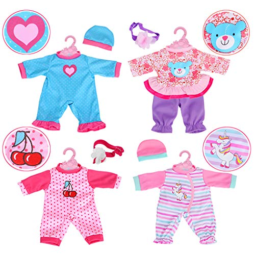 4-Sets Doll Clothes Include Rompers Headband for 10'-12'-13' Dolls Like 10-inch Baby Dolls /12-inch Alive Baby Dolls New Born Baby Dolls