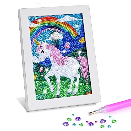 ZALIAFEI Diamond Painting for Kids with Frames, Mosaic Gem Sticker Art Projects Kits, Holiday Crafts Supplies Gifts for Girls Boys Ages 6 7 8 9 10 11 12