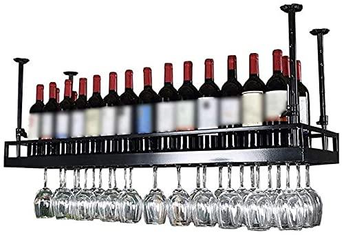 FGDFGDG Estante de Vino Metal Montado en la Pared Techo Colgante de Vino Rack Decoración Estante Bar Bar Restaurantes Cocina Estantes de Vino,100 * 35cm