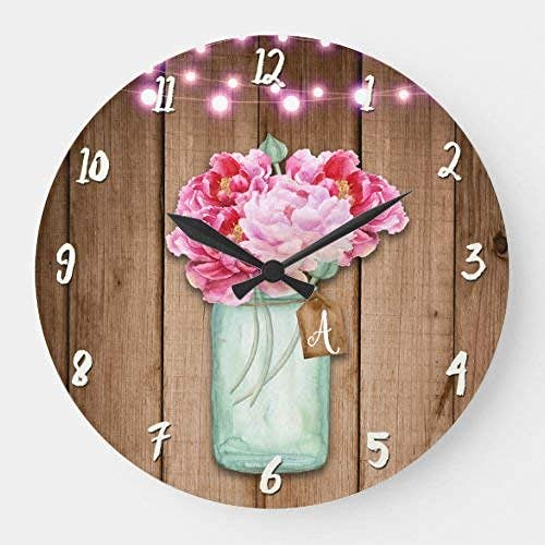 quanjiafu Wall Clocks 15 Inch Wall Clock Pink String Lights & Mason Jar Flowers Rustic Wood Large Clock Silent Non Ticking Quality Quartz Wood Clock For Bedroom Living Room Home Decor