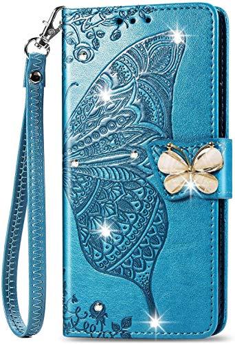 Unichthy Samsung Galaxy Z Fold 2 5G Hülle für Mädchen Glitzer Sparkle Bling Handyhülle 3D Gems Schmetterling Stoßfest Leder Wallet Flip Schutzhülle Folio Notebook Shell Blau