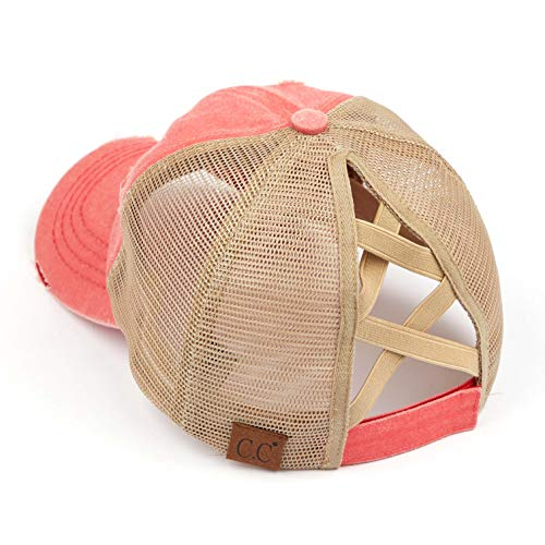 Funky Junque Ponytail Messy Bun Trucker Ponycap (Mesh - Coral w/Criss Cross Back)