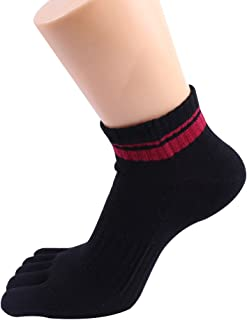 Yiwa Men Athletic Toe Socks Anti-Stink Sweat-Absorb Cotton Five Finger Socks Sports Running Pure Color