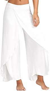 Womens Cropped Yoga Pants High Waist High Slit Flare Palazzo Swing Flowy Baggy Casual Lounge