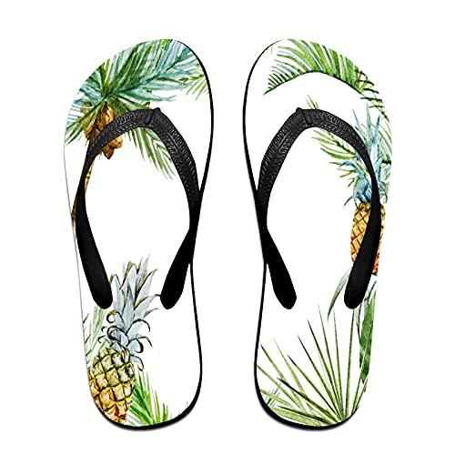 Sandalo infradito sottile unisex,Ananas Palma Tropicale Cornice Acquerell, Infradito per tappetino da yoga Comodo cinturino in pelle da spiaggia con suola in EVA leggera taglia M