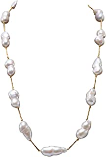 JYX Pearl Tin Cup Station Necklace White Baroque Freshwater Cultured Pearl Necklace