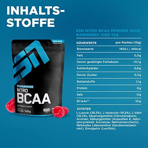 ESN Nitro BCAA Powder, Pro Series, Raspberry Ice-Tea, Beutel mit Dosierlöffel, 1er Pack (1 x 500g) - 4