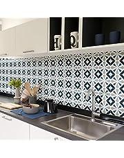 Tegelstickers, zelfklevend, cementtegels, wanddecoratie, wandstickers, tegelstickers, voor badkamer en keuken, 15 x 15 cm, 60 stuks