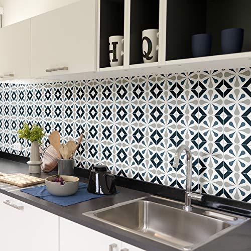 Tegelstickers zelfklevend - cementtegels - wanddecoratie sticker tiles voor badkamer en keuken - cementtegels zelfklevend - 15x15 cm - 60 stuks