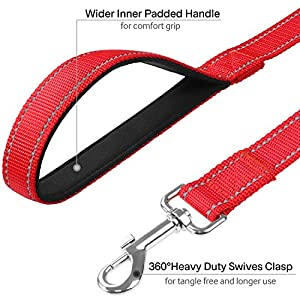 FunTags 6FT Reflective Dog Leash with Soft Padded Handle for Training,Walking Lead for Large & Medium Dog,1 Inch Wide,RED