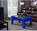 Hanover Foosball Coffee Table with Telescopic Rods and Counterbalanced Players, Blue