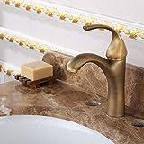 ZJN-JN Robinet d'évier de salle de bain en cuivre de style européen antique antique chaud et froid double ouverture robinet robinet robinet queue de cochon robinet robinet salle de bain