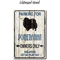 Fhdang Decor - Cartel de pomerania, regalo de pompón, perro pequeño, cartel de metal, cartel de perro, amante de perro, regalo omeranio, signos de raza, metal, multicolor, 8x12 inches