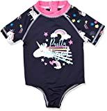 Wippette Girls Baby Printed One Piece Rashguards Swimsuits, Navy, 18M