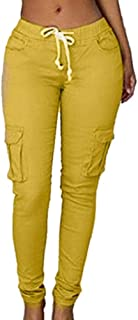 Pantalones de Yoga para Mujer Fitness Leggings Deportivos sólidos Pantalones de Corbata con múltiples Bolsillos para Mujer Pantalones de lápiz de Jogger Ligero Pantalones de Gran tamaño