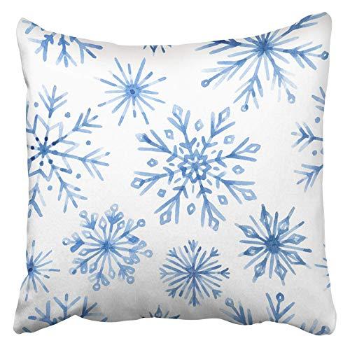 AEMAPE Fundas de Cojines Nieve Acuarela Copos de Nieve Azul sobre Blanco Copo de Navidad Mano Dibujado Lindo Resumen Frío congelado 40X40 Cm Funda de cojín