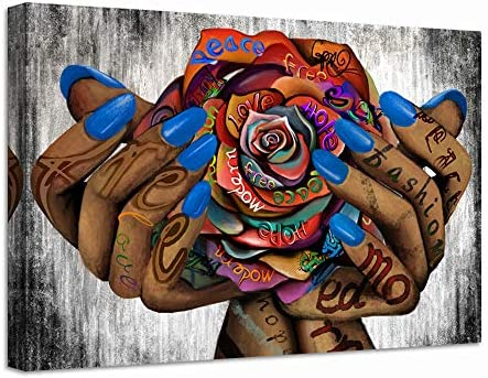 LevvArts Abstract Graffiti Canvas Wall Art Hands with Rose Painting Pop Art Prints Poster Modern product image