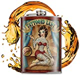 Tattooed Lady - Cute Flask For Women - Stainless Steel Flask - Flasks For Liquor For Men - Whiskey Flask - 8oz Flask For Men - Alcohol Flask - Cool Gifts For Women - Pin Up Flask - Trixie And Milo