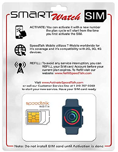 Smartwatch SIM Card Starter Kit - No Contract (Triple Cut SIM: Standard, Micro, Nano) for 4G Smart Watches - Global Coverage