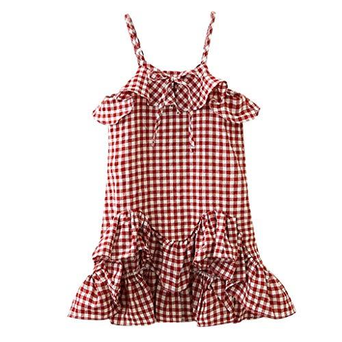 YWLINK MäDchen Mode Plaid Kariert Drucken Sling Tank Kleiden Sommer ÄRmellos RüSchen Party Vokuhila Prinzessinen Kleid(Rot,120)