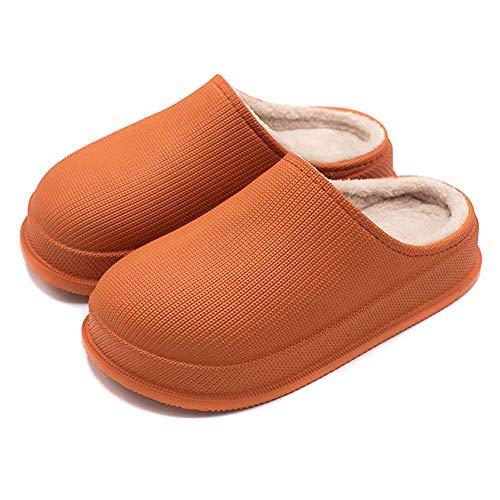 Invierno Impermeable Antideslizante Zapatillas para el hogar, cómodo y cálido Forro de Felpa para Hombres y Mujeres, Interior, Suela de Goma Antideslizante al Aire Libre 37-38 Orange
