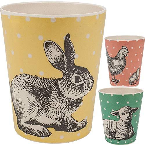 3 Stück _ Bambus _ Trinkbecher / Becher - Tiere - Schaf - Küken - Hase - 330 ml - BPA frei - aus Bambusfasern - Tasse - Zahnputzbecher / Malbecher - Kinder Er..