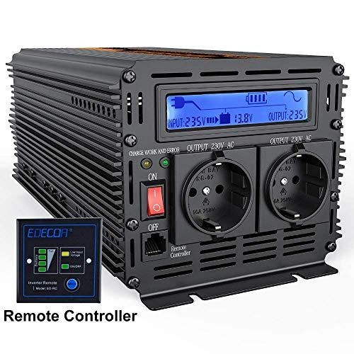LFDHSF DC-Netzteil Wechselrichter Reine Sinuswelle 2500W DC 12V bis AC 220V LCD-Anzeige Wechselrichter + Ladegerät & USV, leises und schnelles Ladegerät